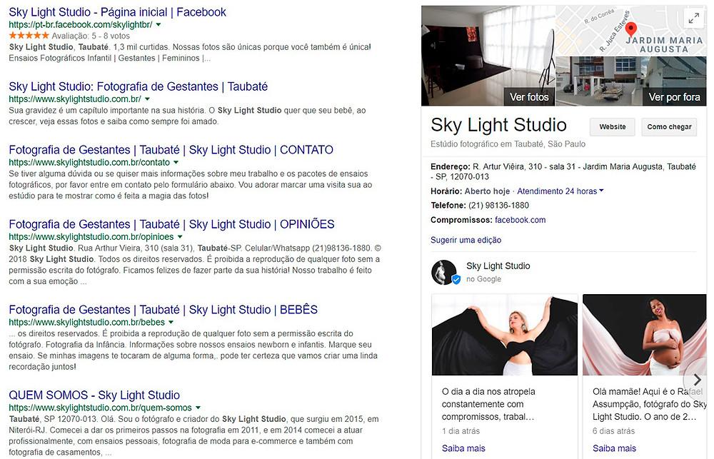 página de busca da Google mostrando resultados relacionados ao Sky Light Studio