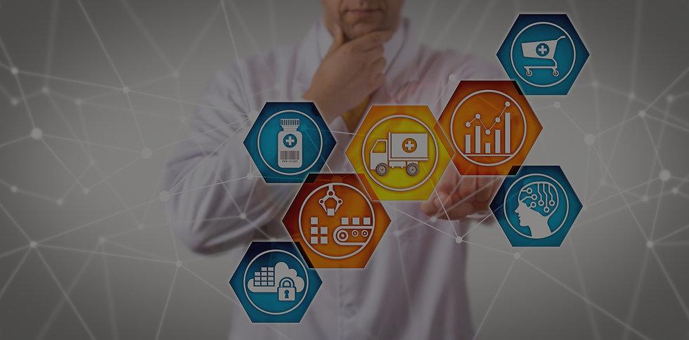 Unrecognizable pharmaceutical research scientist managing prescription drug supply chain v