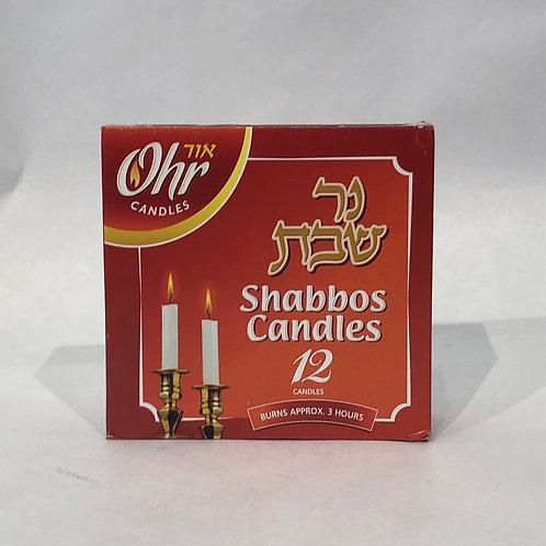 Ohr Shabbat Candles -12 pcs- Burns Approx 3 Hrs