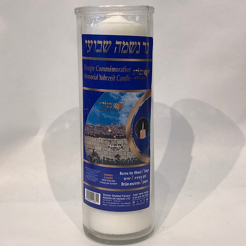 Memorial Yohrzeit Candle -Burns for About 7 Days-