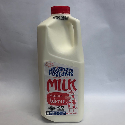 Kosher Pastures Vitamin D Whole Milk Half Gal