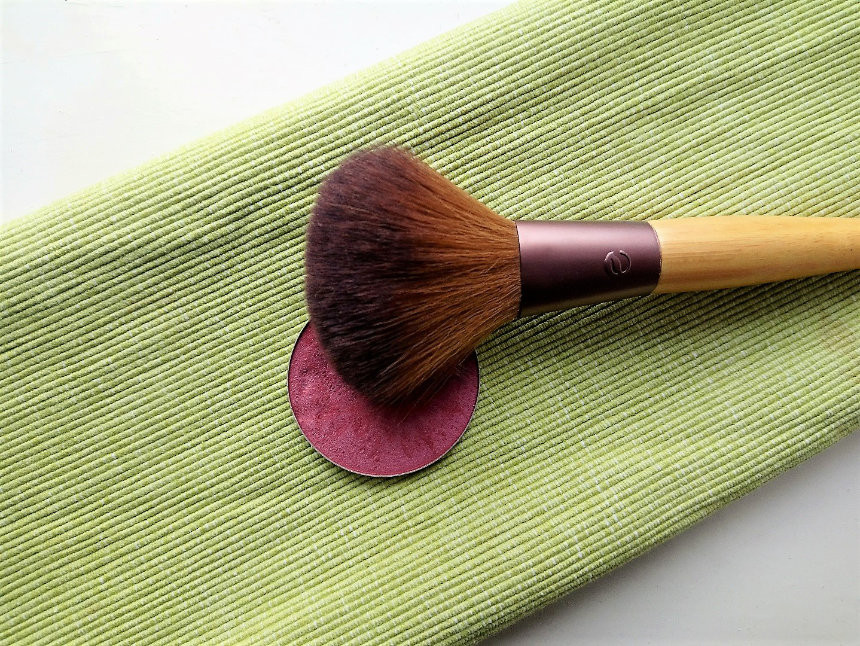 handmade pink rose blush with bamboo brush