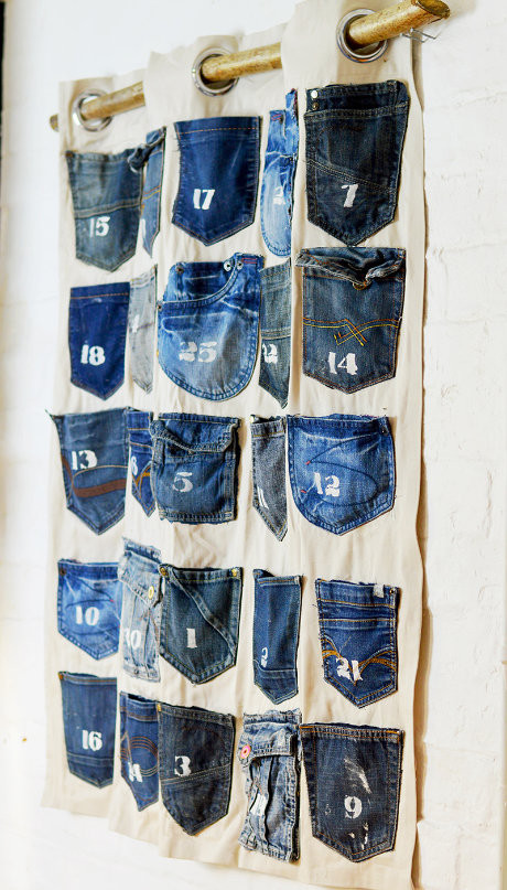 Pillarboxblue jean pocket handmade advent calendar
