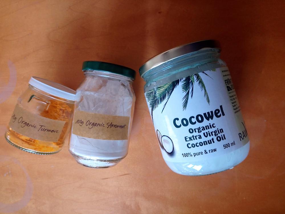 organic turmeric arrowroot coconut oil DIY Mask