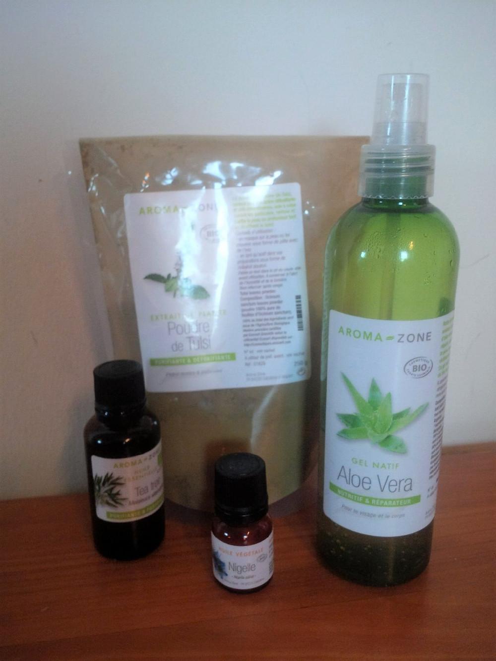 handmade facial mask organic tulsi powder, organic aloe vera, natural nigella and organic tea tree essential oil