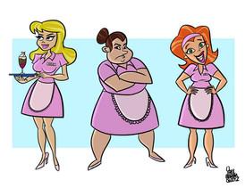 3 waitresses illustration