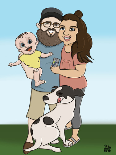 Family caricature commission