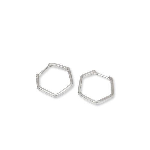 Hex Hoop Earrings Sterling Silver