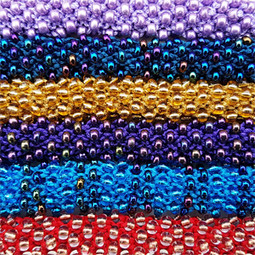 Knitted, beaded necklaces