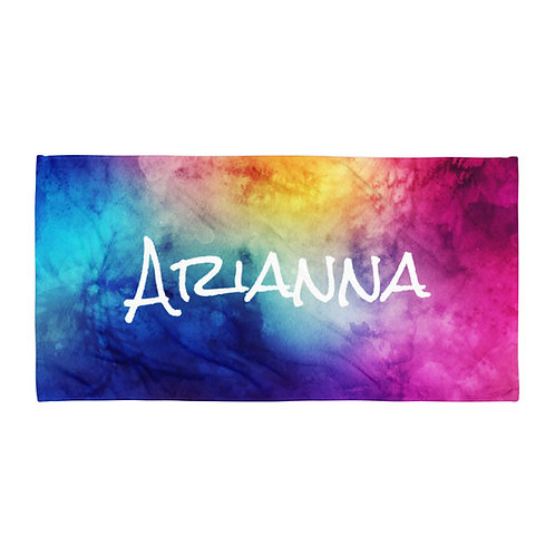 Personalized Watercolor Rainbow Towel