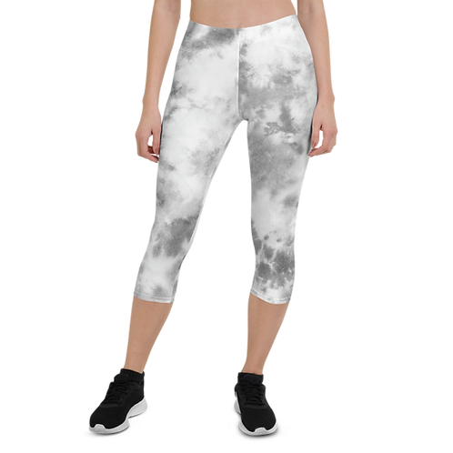 Grey Tie-Dye Capri Leggings