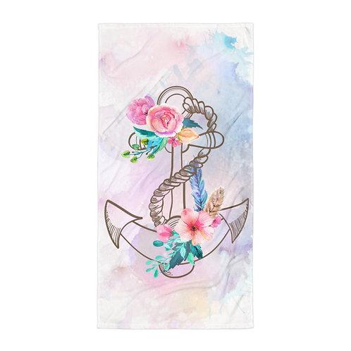 Vintage Anchor Floral Towel