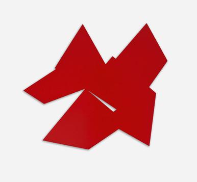NORBERT THOMAS Rote Form I 2016 Lack auf Aluminium 80x 80 cm