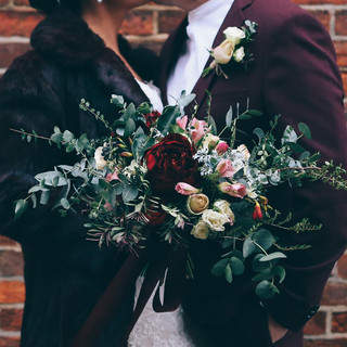 Winter bouquet featuring faux peony