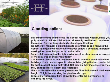 Cladding options for horticultural buildings and agricultural buildings
