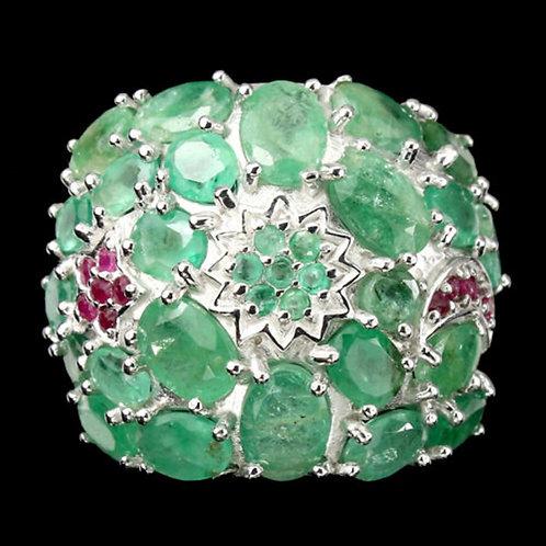 Вирсавия Крупное кольцо с природными изумрудами и рубинами 925 пр