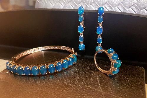 Комплект Голубой огненный опал Браслет, Серьги, кольцо. Роз.золото 925