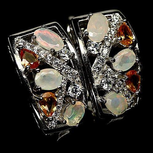 Комплект Сапфир с Опалом огненным.Серьги,кольцо,кулон.925