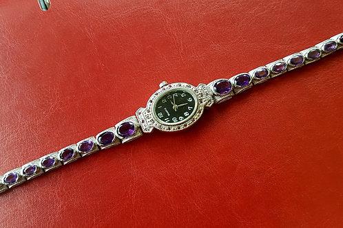 Часы-браслет с Аметистами ААА. Серебро.Белое золото