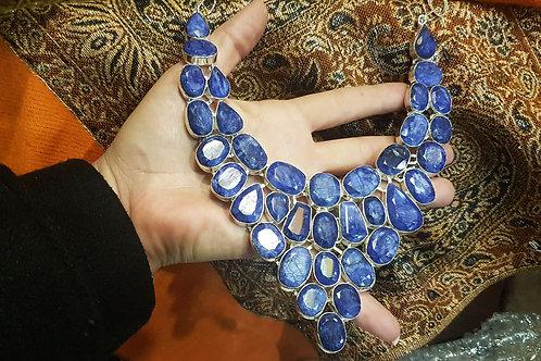 Сапфировое ожерелье серебро 925пр. Сапфиры природные