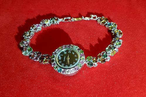 Часы Счастье.Турмалины Мульти цвет.925.белое золото.