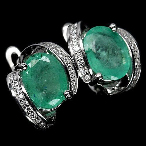 Рина Комплект с изумрудами природными серьги и кольцо. 925