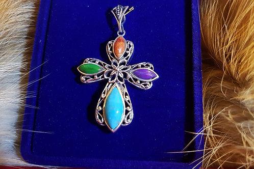 Серебряный крест с разноцветной бирюзой