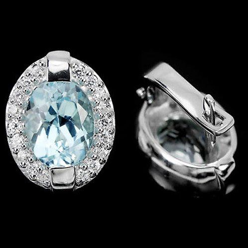 Серьги Голубой топаз 9 на 7 мм. ААА.серебро 925 пр, белое золото