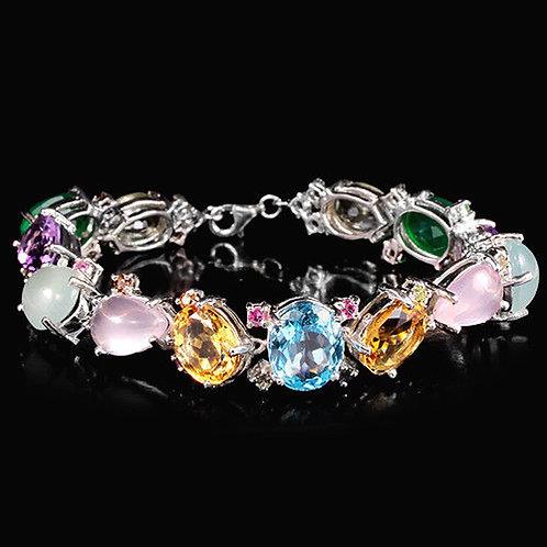 Княгиня Браслет с крупными камнями ААА класса. Серебро,золото