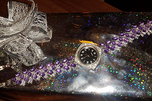 Часы Аметист ААА класса.Серебро,белое золото