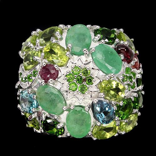 Вирсавия-3. Кольцо с Природными камнями ААА класса