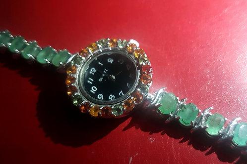 Часы Сапфировые с Изумрудным браслетом. 925.белое Золото