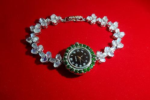 Часы наручные: Лунный камень.Хромдиопсиды.925.белое золото