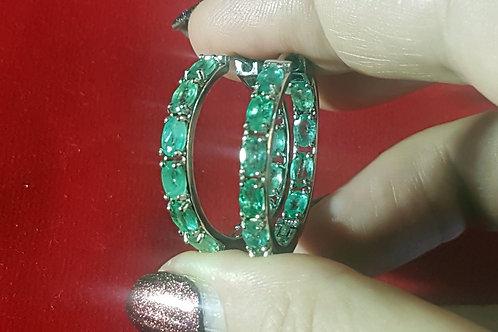 Серьги-кольца Изумруды Колумбия 5 на 3 мм 29 мм на 4 мм