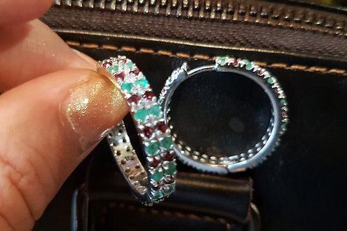 Серьги кольца Изумруд,Гранат..ААА класса серебро 925 пр. белое золото