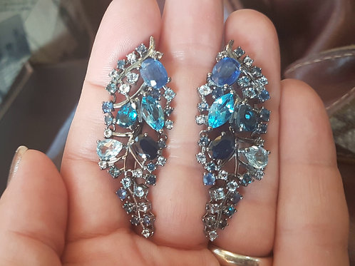 Ирида Серьги с Голубым сапфиром,топазом, кианитом,серебро 925 пр
