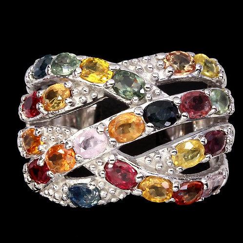 Радужное Кольцо с Сапфирами разноцветными ААА кл. 925 белое золото