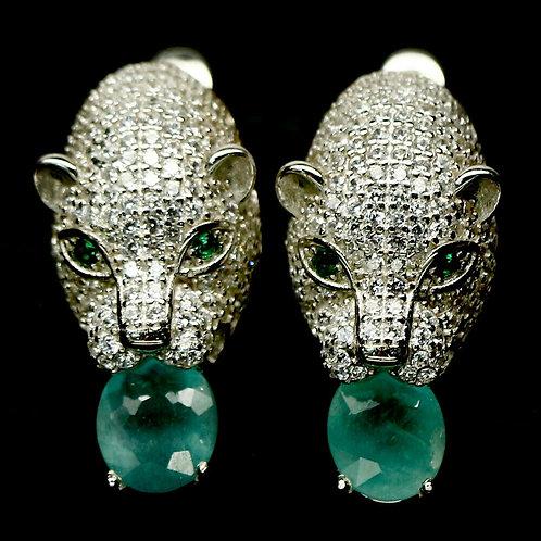 Серьги Пантера с Грандидьеритом. 925.белое золото