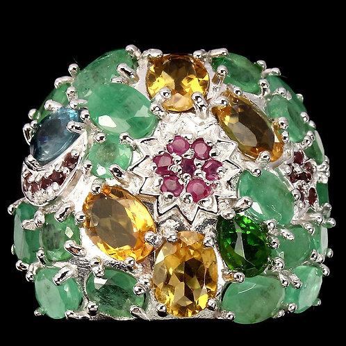 Вирсавия-2 кольцо.Камни изумруды, рубины,родолит,гранат,цитрин 925 пр