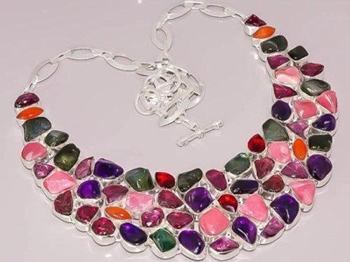 Ожерелье Турмалины натуральные разноцветные серебро 925пр