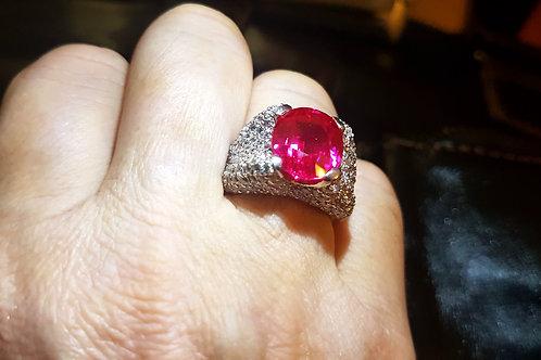 Кольцо с Малиновым Турмалином ААА класса, сапфиры