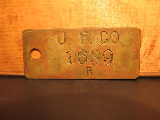 UFCO Brass Inventory Tag 1639