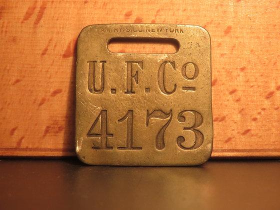 UFCO Brass Luggage Tag F4173
