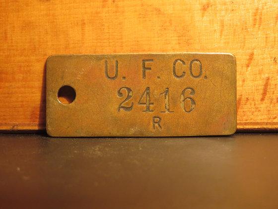UFCO Brass Inventory Tag E2416