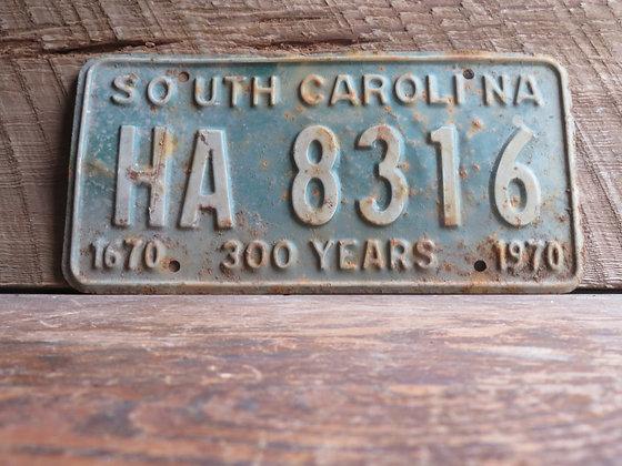 South Carolina TriCentennial License Tag HA 8316