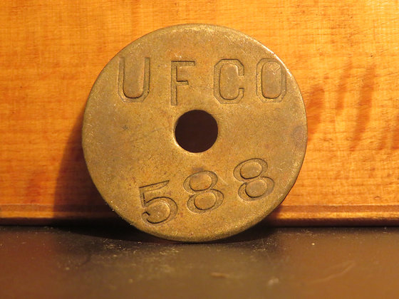 UFCO Round Brass Inventory Tag 588
