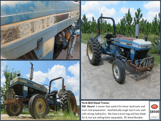 Ford 2810 Diesel Tractor $8500