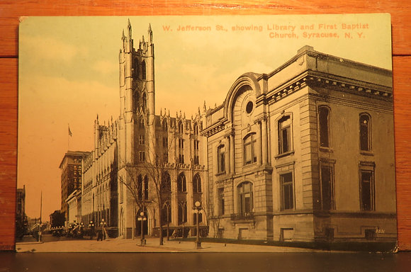 Library and First Baptist Church,  Syracuse, New York