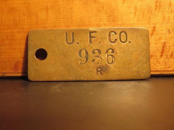 UFCO Brass Inventory Tag E936