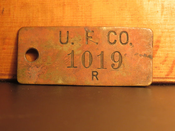 UFCO Brass Inventory Tag 1019